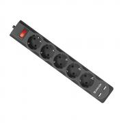 Сетевой фильтр Defender DFS-753, 5 розеток, 3м, USB, Black
