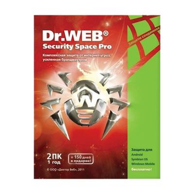 Антивирус Dr. Web Security Space, 12 мес., 2 ПК, Электронный ключ
